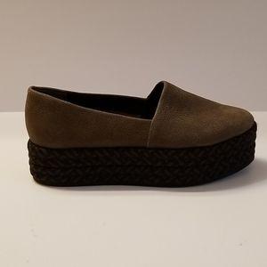 All Saints Bora Braided Platform Olive Green Suede Slip On Shoe Sneaker